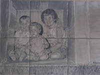 sepia-of-children-in-box
