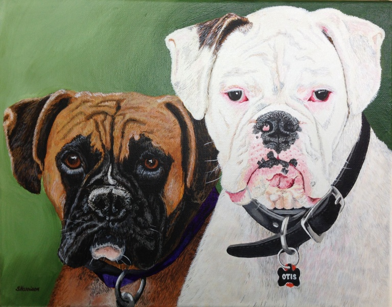 Edie and Otis Portrait in acrylic