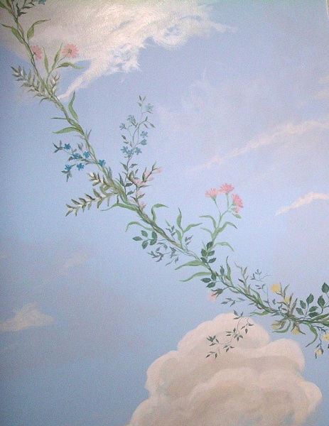 Sky ceiling with floral spray